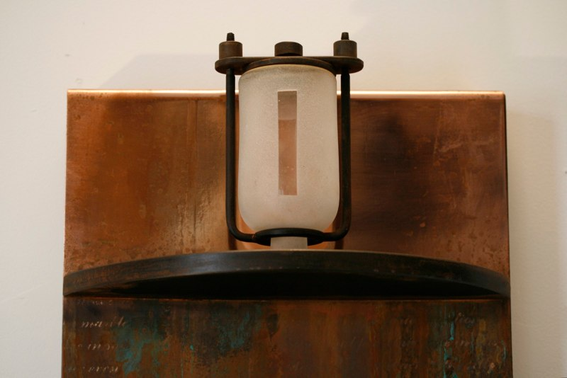 Lawrence LaBianca Revelation, detail, 2010 copper, patinas, glass bottle, steel, wood 79 x 13 x 6 inches