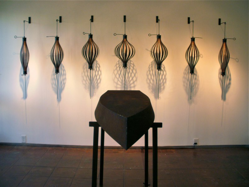 Lawrence LaBianca Breathing, 2010 and Dream, 2010 wood, steel 48 x 6 x 18 inches each, 7 pieces