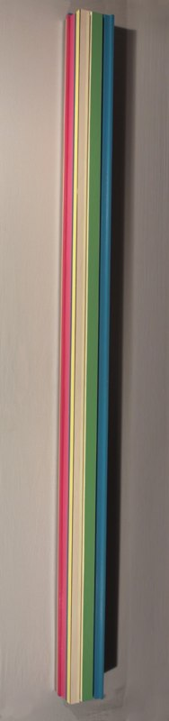 For Always and For Ever, 2012, polychrome wood, 71 x 4 x 4 inches