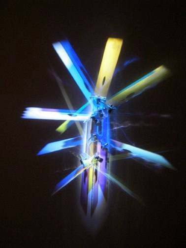 Metropolis, 2012, glass, stainless steel, light, 32 x 18 x 4 inches