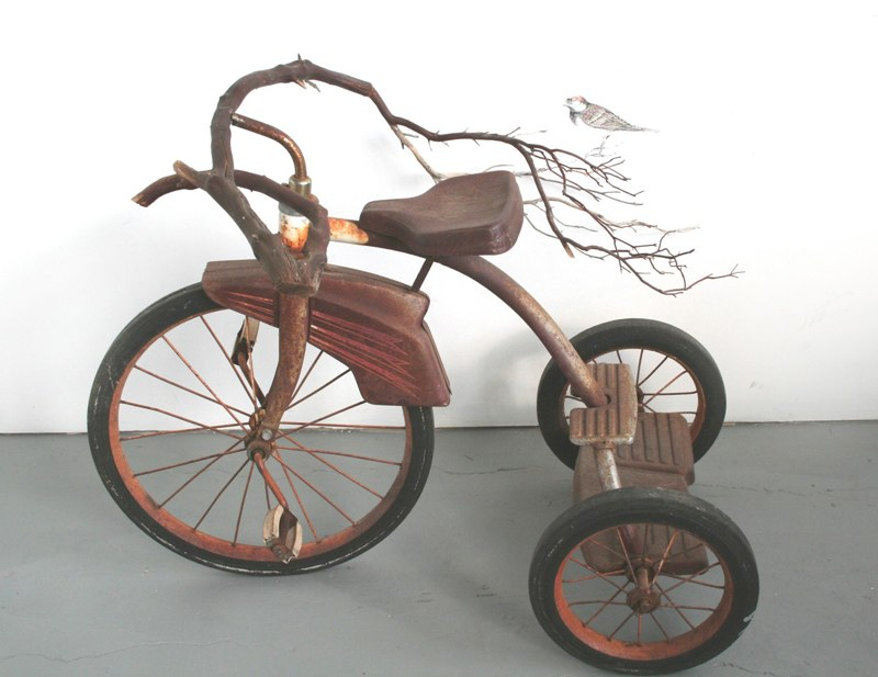 A Guiding Principle, 2010, graphite drawing with found object / tricycle with branch as handlebars,  34 x 29 x 29 inches