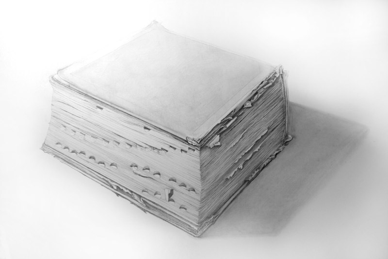 A Very Old Dictionary from Cathedral School, 2012 graphite on paper 28 x 20 inches