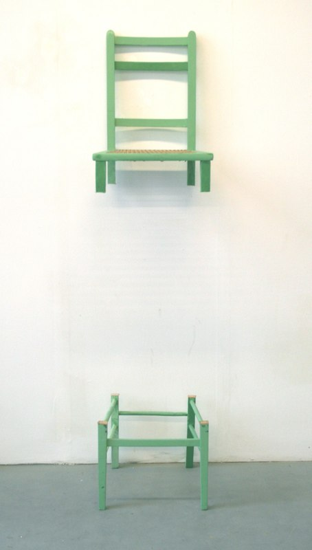 Chair of Heightened Perception, 2011, cut wooden chair, 60 x 15 x 15 inches