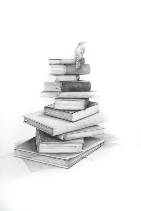 Eleven Art Books, 2012, graphite on paper, 40 x 28 inches