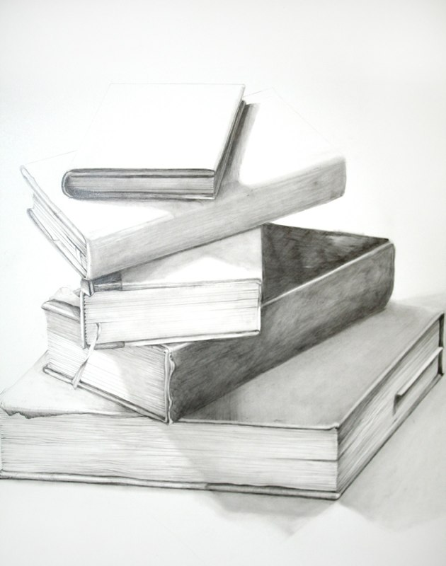 Five Art Books, 2012, graphite on paper, 20 x 16 inches