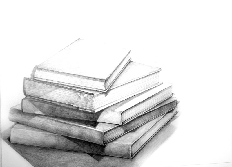 Five Books of Poetry in Brooklyn, 2011, graphite on paper, 14 x 17 inches