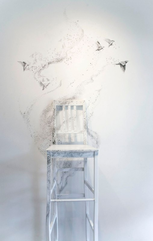 Murmuration, 2012, reassembeled chairs, dimensions variable