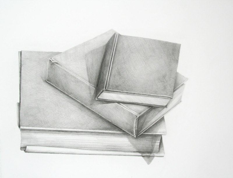Three Art History Books, 2011, graphite on paper, 28 x 20 inches