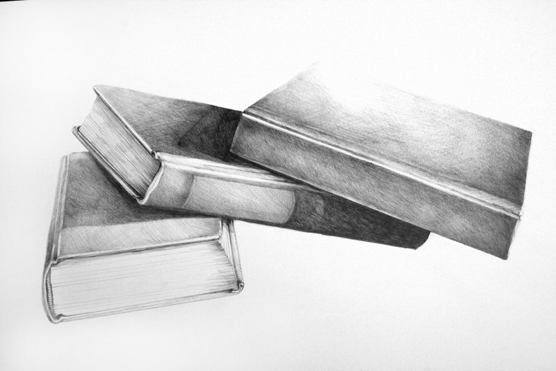 Three Books of Poetry in Brooklyn, 2011, graphite on paper, 16 x 20 inches