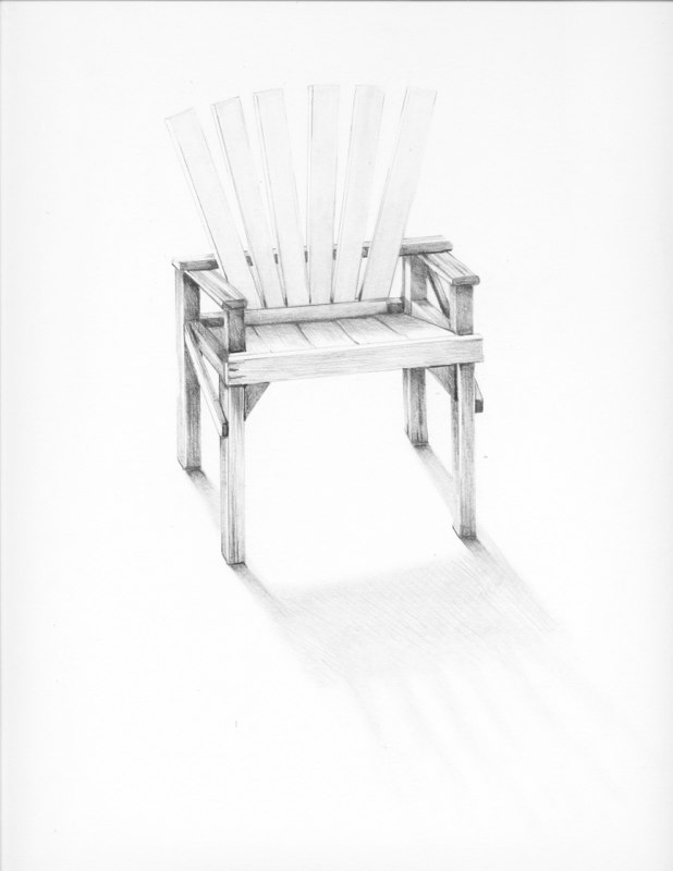Garden Chair, 2013, graphite on paper, 17 x 14 inches