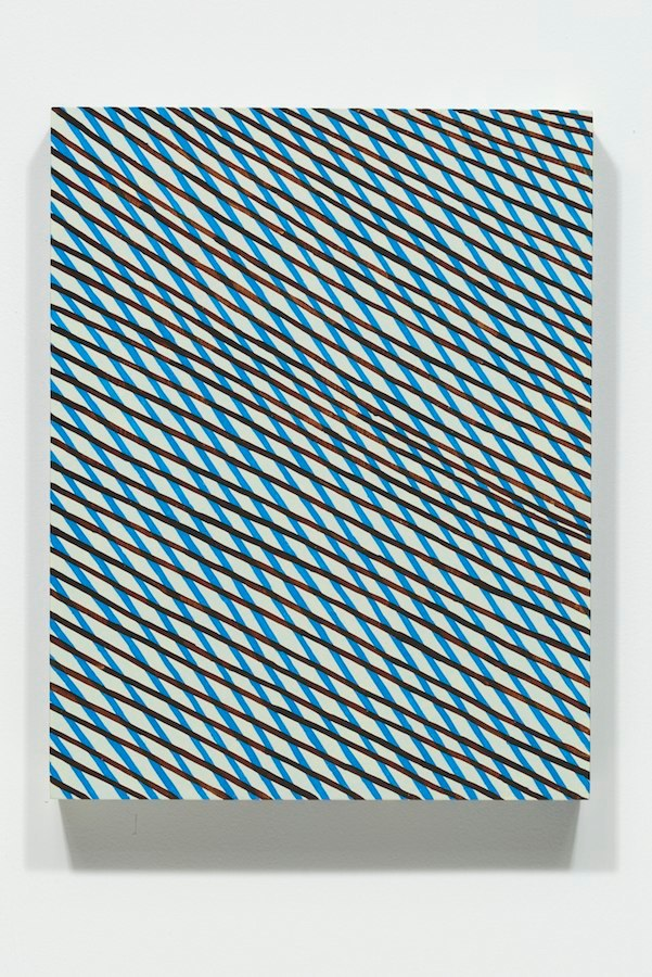 Blue Falling Diamonds, 2014 acrylic on panel, 14 x 11 x 2 inches