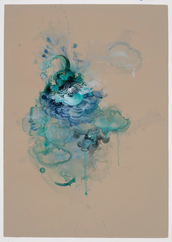 Free Flow Nine, 2011, acrylic, ink and watercolor on paper, 27.5 x 19.75 inches