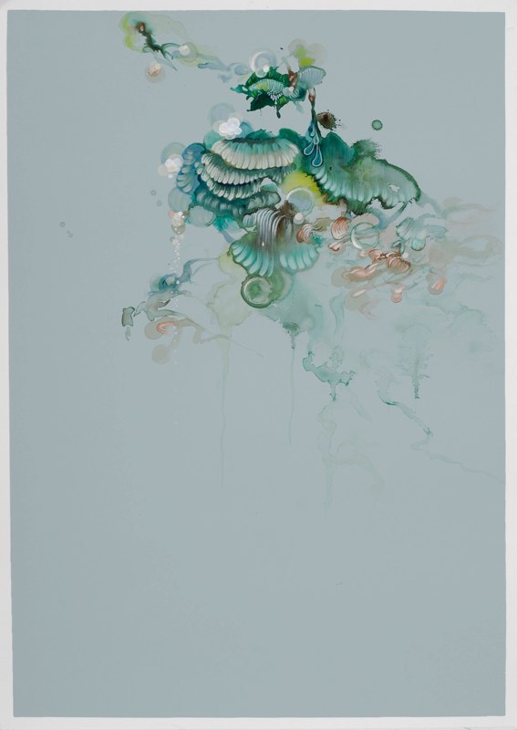 Free Flow Three, 2010, acrylic, ink and watercolor on paper, 27.5 x 19.75 inches