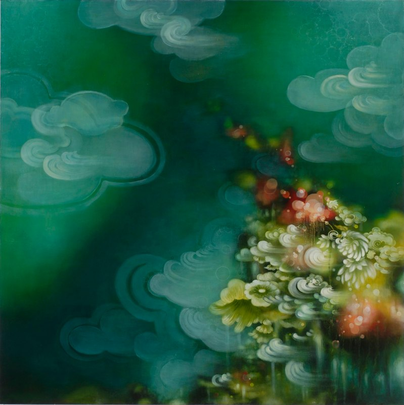 Dreaming in Turquoise, 2011, acrylic and oil on wood panel, 36 x 36 inches