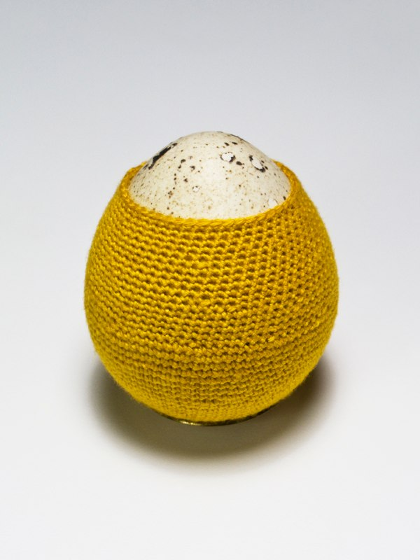 Quail Egg, 2013 egg, hand-dyed thread, custom shelf, 3 x 3.5 x 3.5 inches