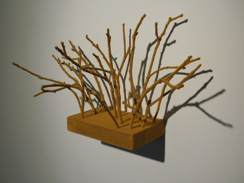 Back Yard, 2010, hand-dyed thread, wood, sticks 6.75 x 5 x 13 inches