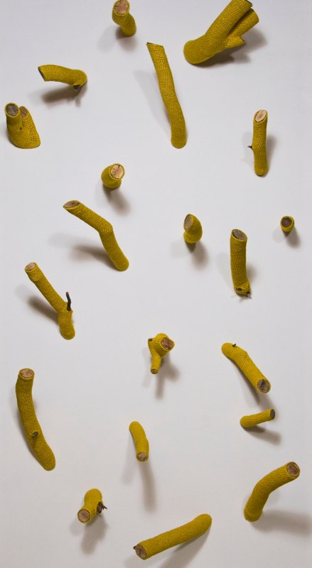 Stubs, 2010, hand-dyed bamboo yarn, sticks, dimensions variable