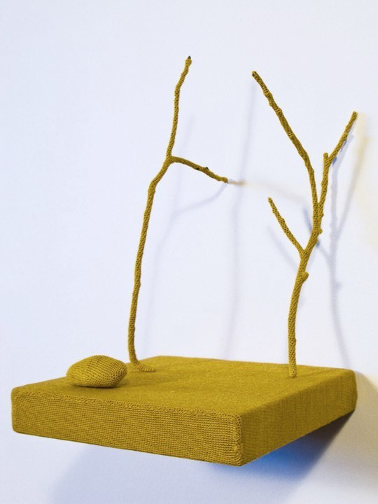 Untitled, 2010, wood shelf, twigs, rock, hand-dyed thread, 7.5 x 5 x 5 inches
