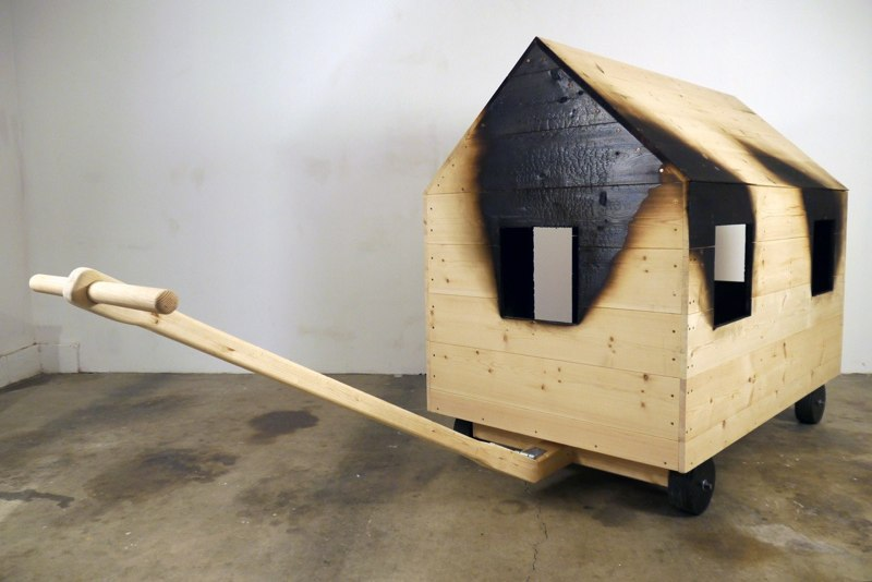 Play House, 2011, pine, charred pine, steel, 59.5 x 122 x 41 inches