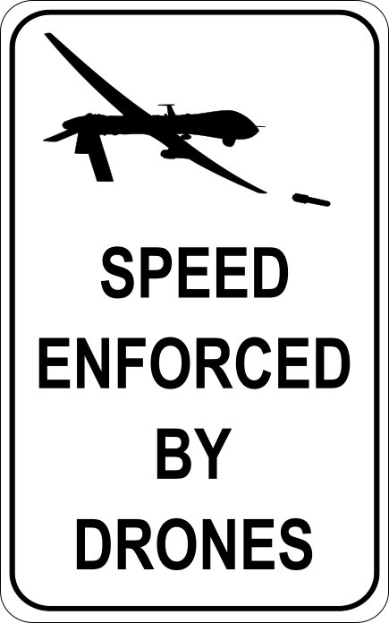 Speed Enforced by Drones,  2013, vinyl and aluminum, 48 x 32 inches