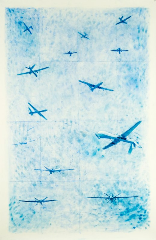 Drone War 1, 2012, pastel on paper, 70 x 45 inches
