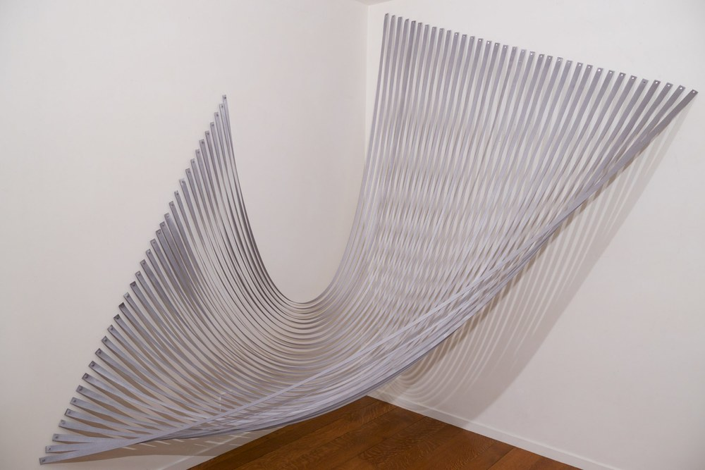 Sabine Reckewell, Transcendental Hammock 3, 2015, nylon webbing and pushpins, 8 x 6 x 6 feet
