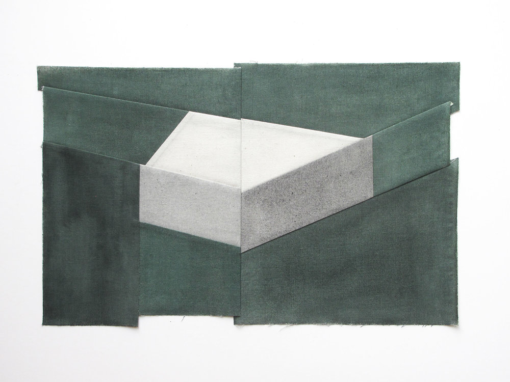Gabrielle Teschner  -  Keystone II (second) , 2015 watercolor on muslin 10 x 16 inches