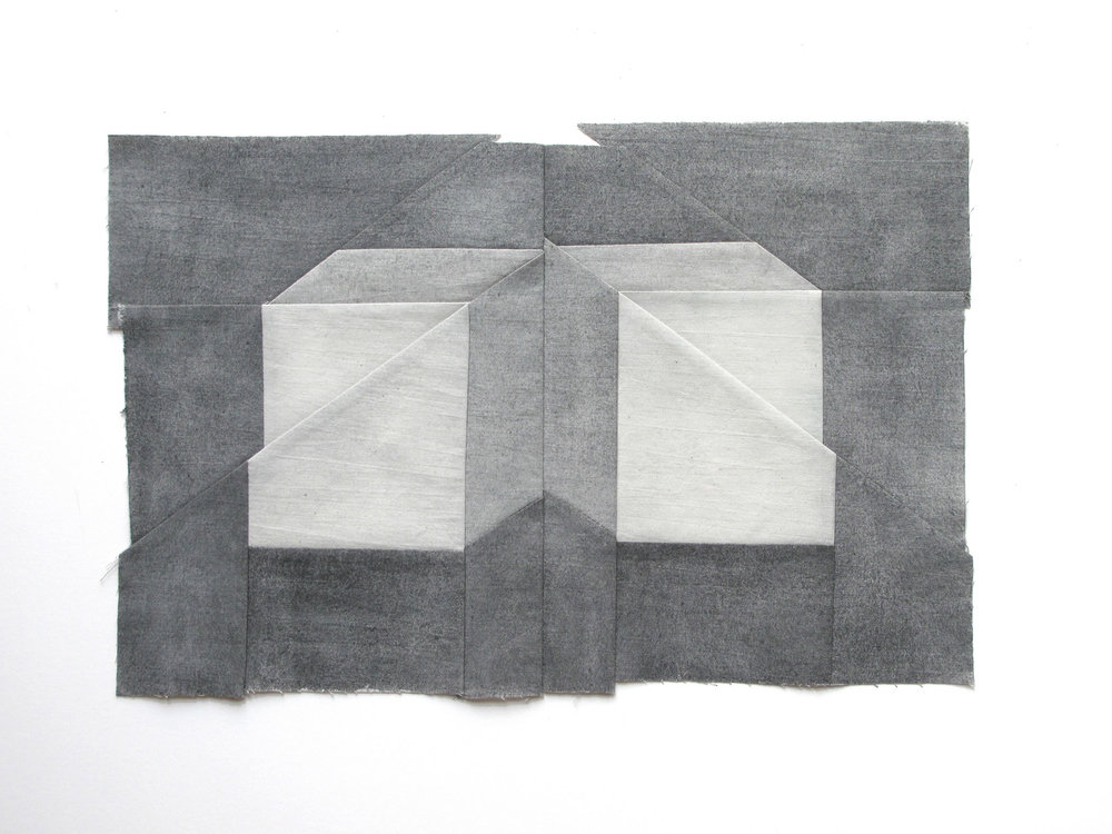 Gabrielle Teschner  -  East/West Wall , 2015 watercolor on muslin 9.5 x 16 inches