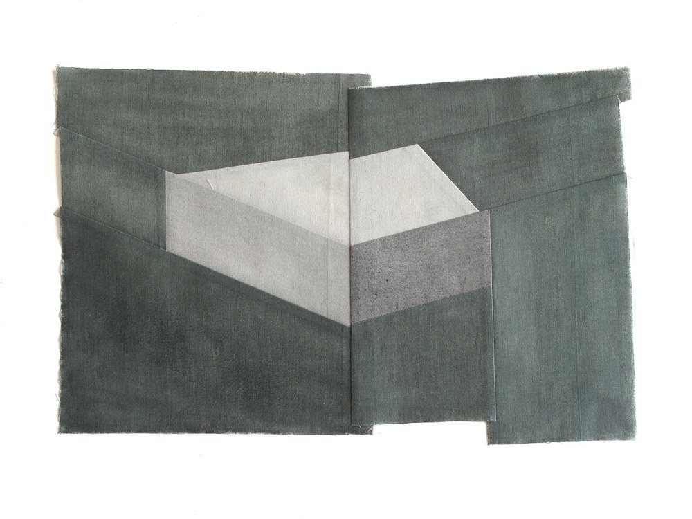 Gabrielle Teschner  -  Upright Keystone I (second) , 2015 watercolor on muslin 9.5 x 16 inches
