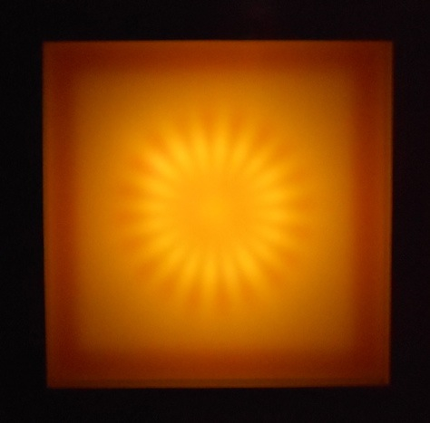 "Cathy Cunningham-Little, ""Sunburst,"" 2011, neon, filter foils, acrylic, wood, 36 x 36 x 8 inches"