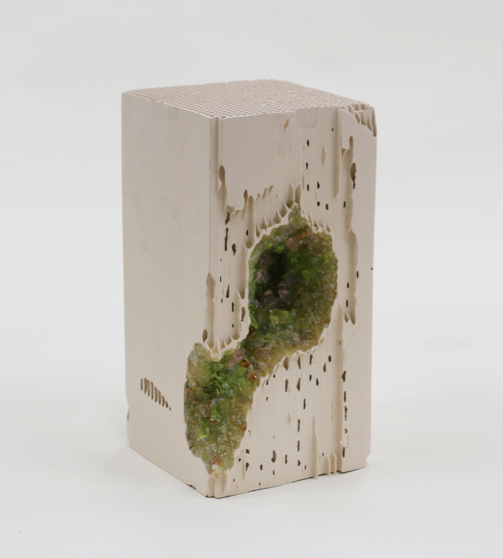 Randy Colosky, Green Vug, 2014, lead crystal embedded in engineered ceramic, 12 x 6 x 6 inches