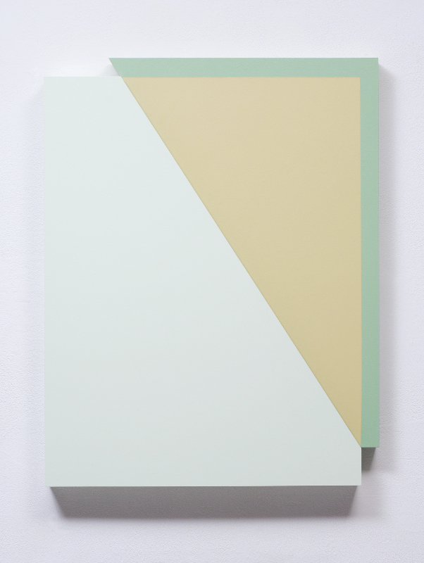 Connie Goldman, Shift III, 2015, oil on panel, 21 1/8 x 18 x 2 inches