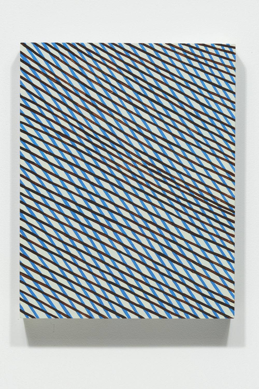 Mel Prest, Blue Falling Diamonds, 2014, acrylic on panel, 14 x 11 x 2 inches