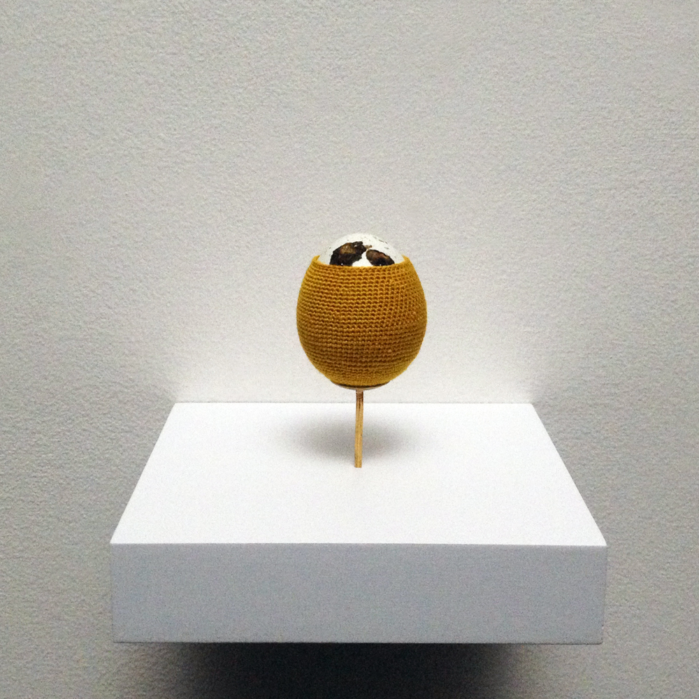 Esther Traugot, Quail Egg 4 (Series 3), 2015, Coturnix eggshells, hand-dyed cotton thread, brass mount, wood shelf 3 1/2 x 3 x 3 inches