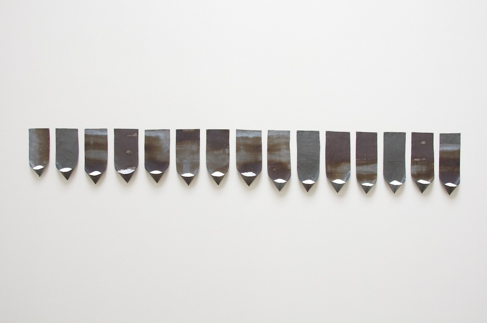 Saltsugarlead, 2013, lead, salt, sugar, 73 x 12 x 2 inches, (15 pockets)