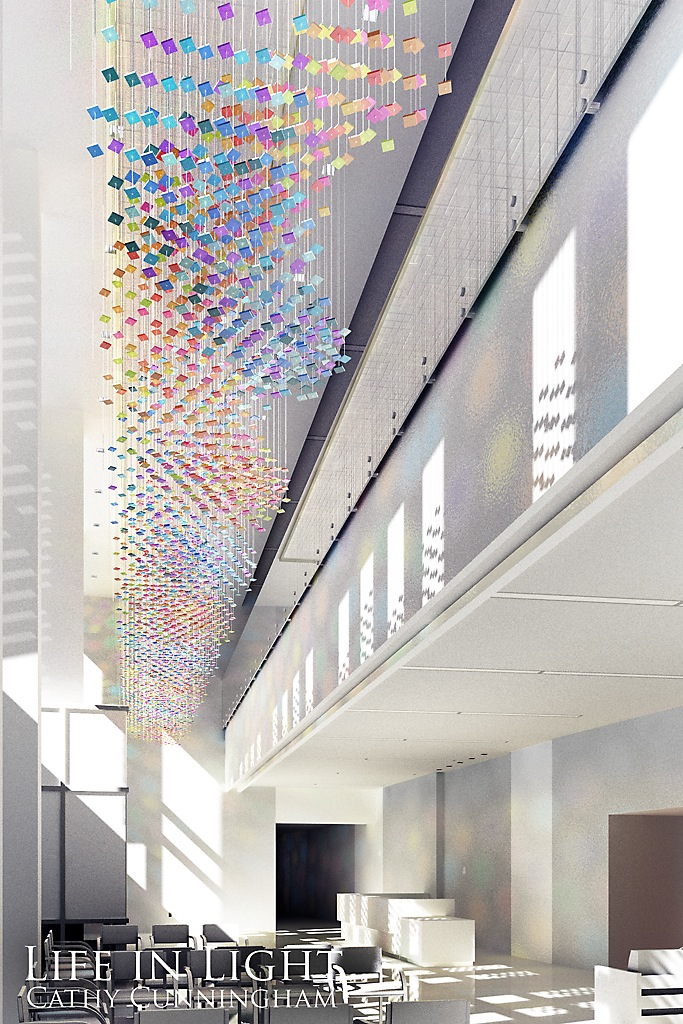 Life in Light, 2012, dichroic glass, stainless steel, 6 foot diameter x 48 foot long