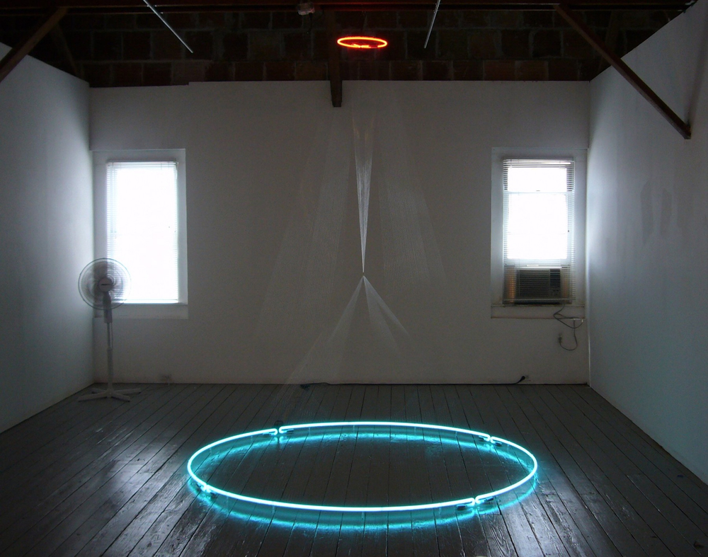 Mirage, 2008, neon, nylon thread, 10 x 6 x 6 feet, site specific