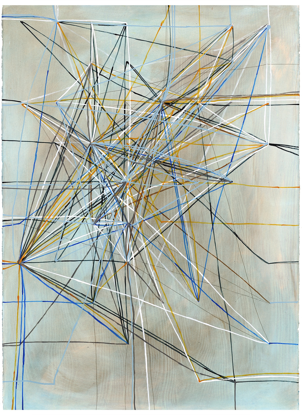 RFJP Chicago Metro Pink Blue Lines, 2014, acrylic and phosphorescent acrylic on paper, 41 x 29 inches