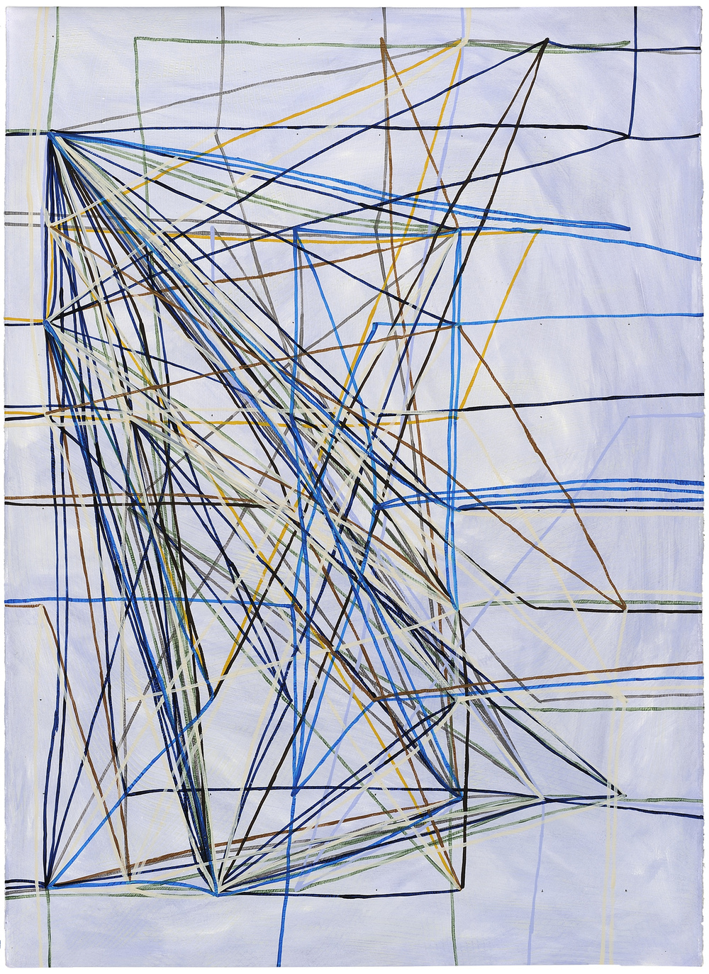 RFJP Chicago Metro ROY lines, 2014, acrylic and phosphorescent acrylic on paper, 41 x 29 inches