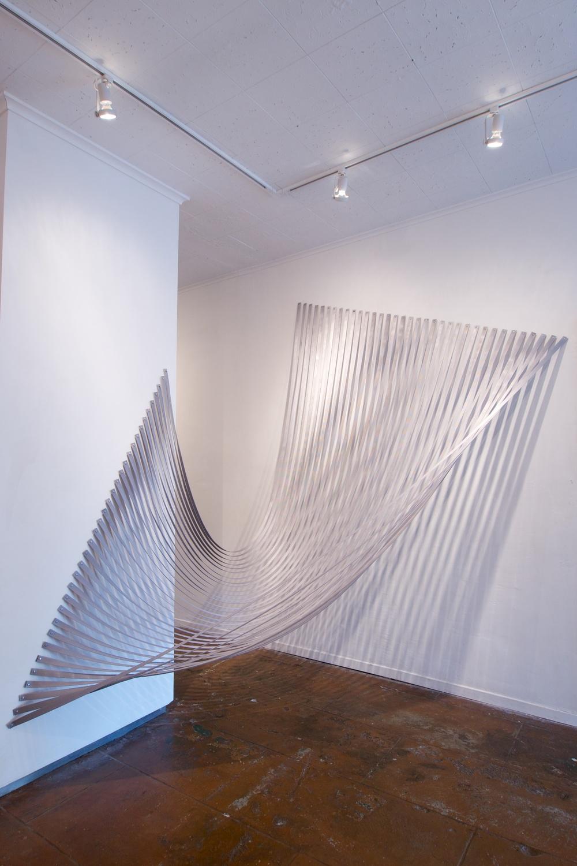 Transcendental Hammock 3, 2015, nylon webbing pushpins, 8 x 6 x 6 inches
