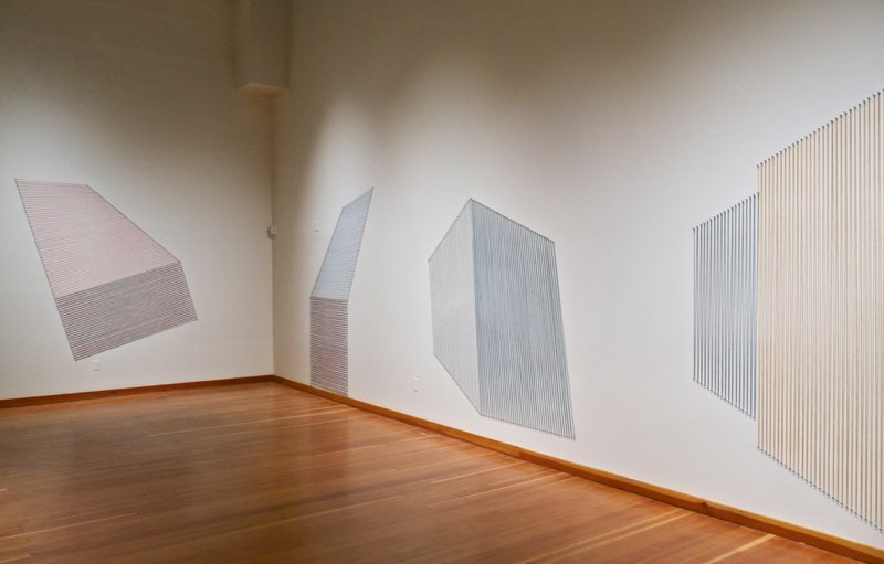 Wall Drawings 1-4, 2015, various threads, pushpins, dimensions variable, from Linear Equations exhibition at Sonoma State University, 2015