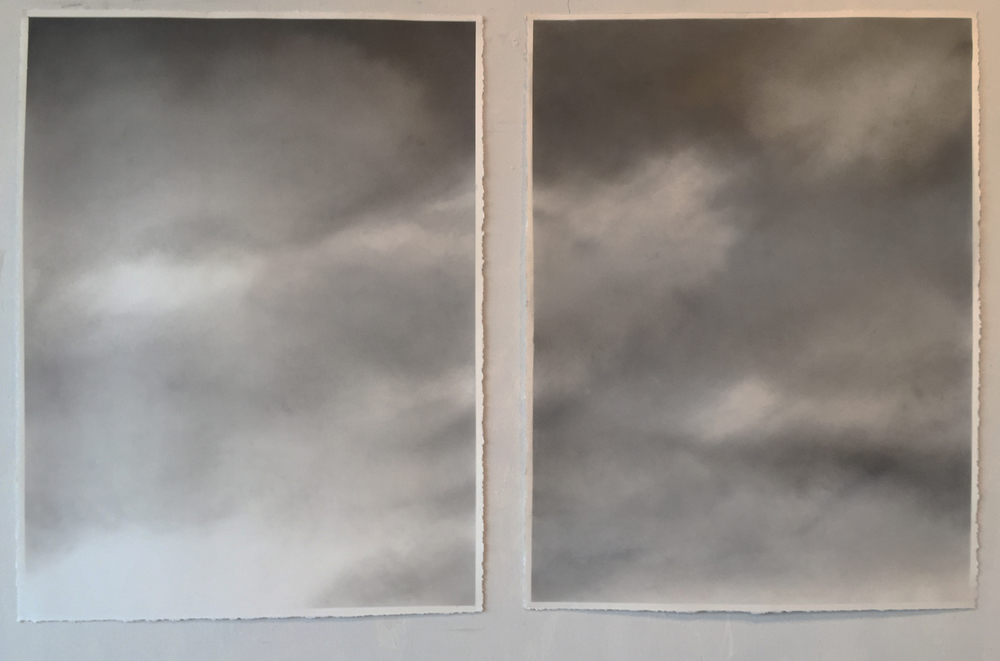 Ghidini, Winter Sky, 2015, graphite and mica dust on paper, 40 x 30 inches each