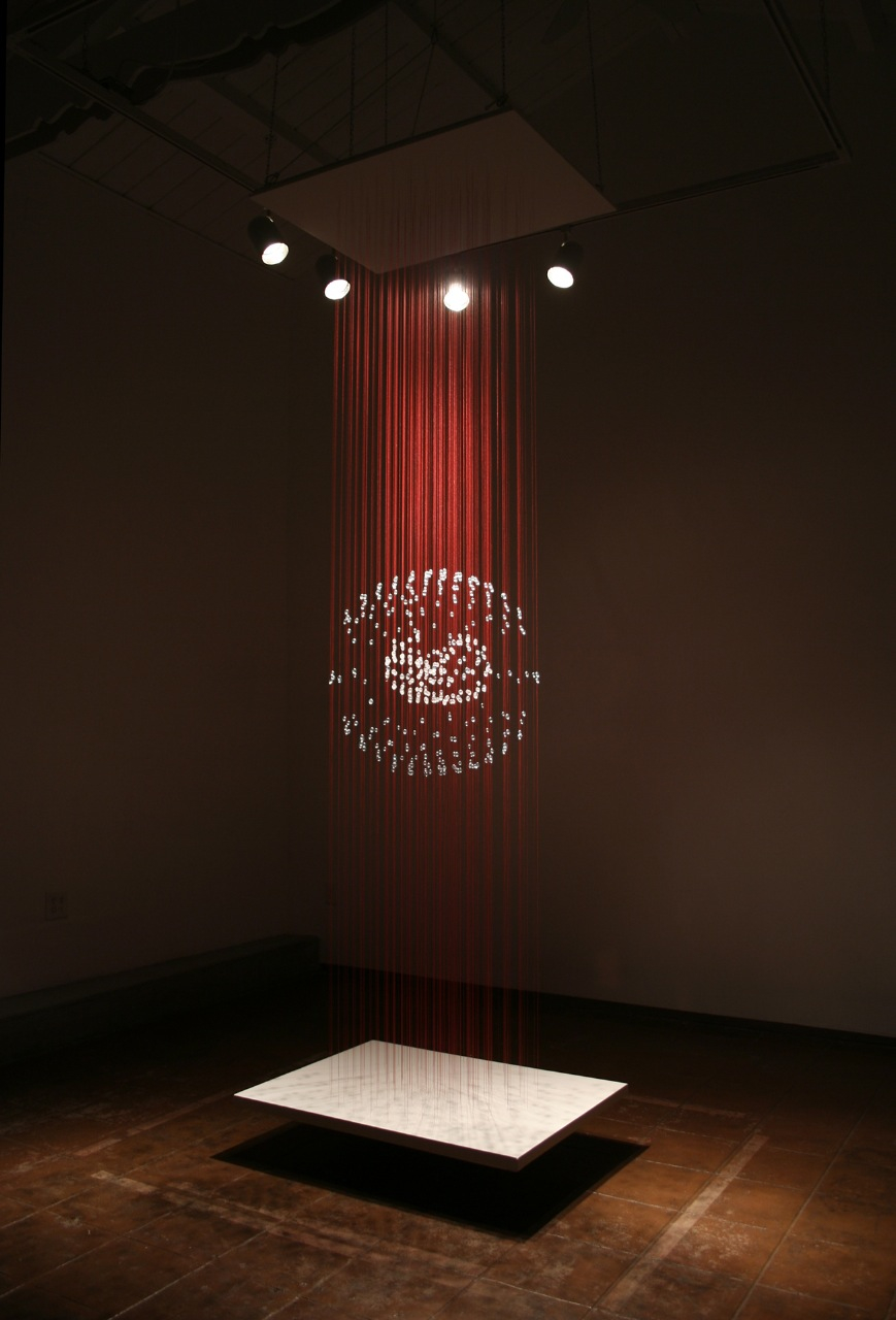 Expectations, 2011, glass and thread, 120 x 30 x 40 inches