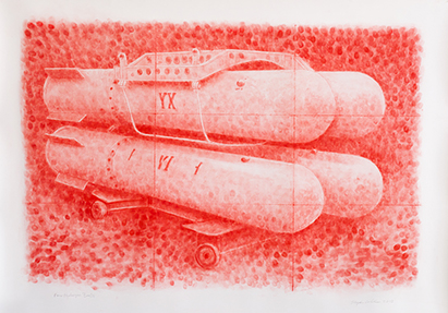 our Hydrogen Bombs, pastel on paper, 40 x 55 inches