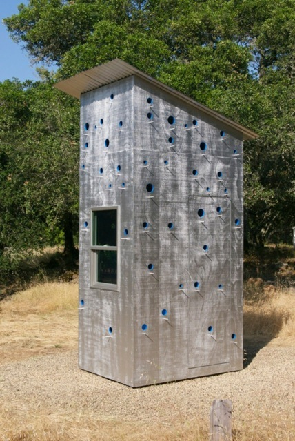 Guard House (for Max Miller), 2014, wood, paint, steel and glass, 132 x 76 x 54 inches