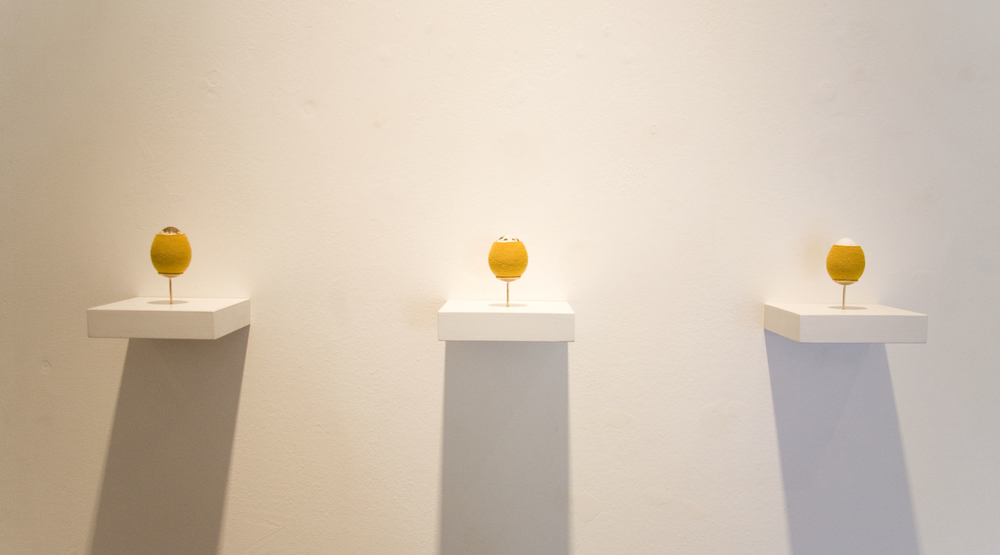 Quail Eggs (Series 2), 2014, quail egg, hand-dyed cotton thread, brass mount, wood shelf, 1 3/4 x 2 1/4 x 1 1/2 inches egg only; 3 1/2 x 3 1/2 x 3/4 inches with shelf