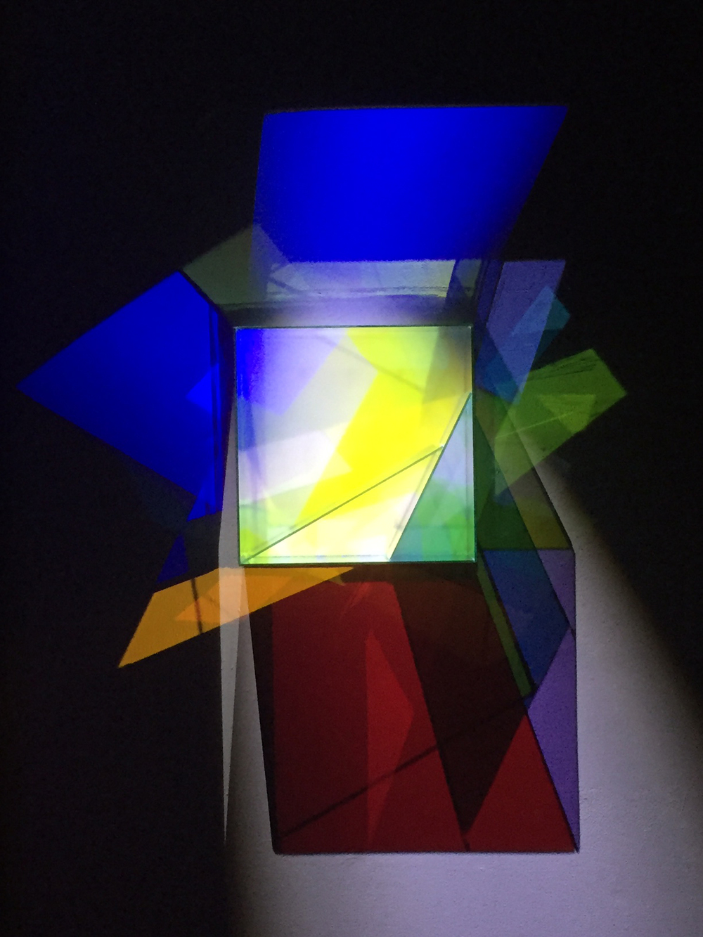 Division, 2016, glass, white LED, 41 x 32 x 6 inches