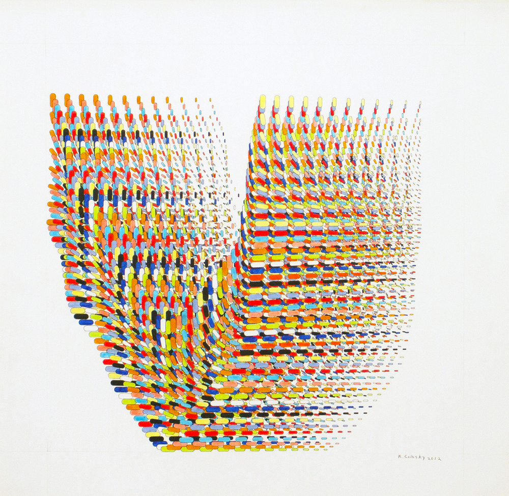 """Randy Colosky, """"Pandora Seed,"""" 2012, ink on paper, 22 x 22 inches (paper), 28 x 28 inches (framed)"""
