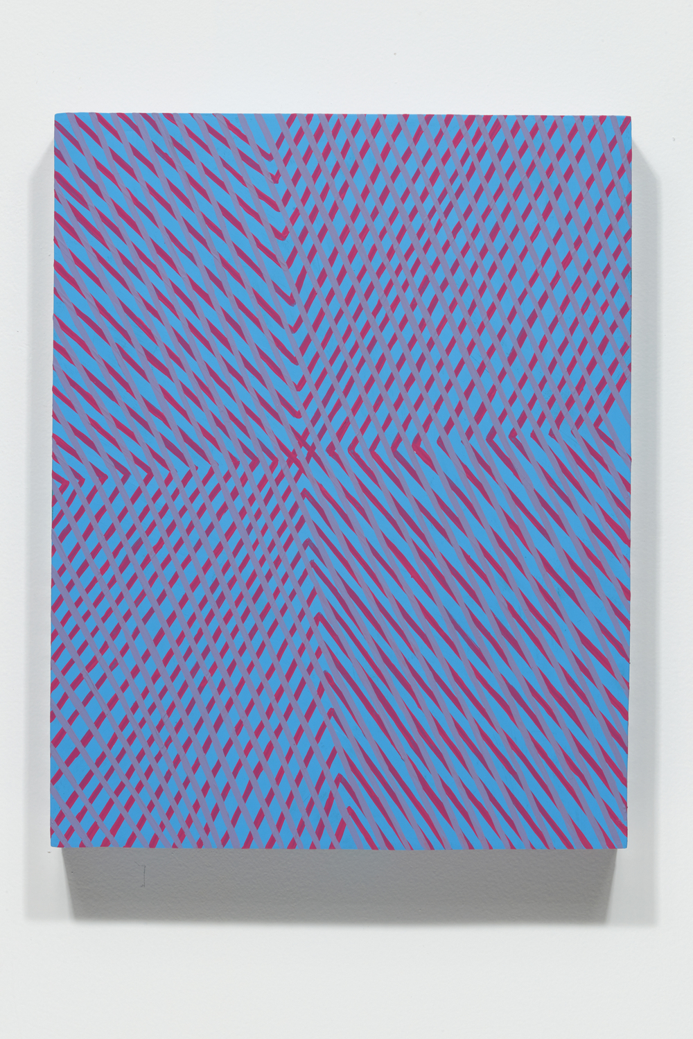 "Mel Prest, ""Low January Sun,"" 2014, acrylic and fluorescent acrylic on panel, 14 x 11 x 2 inches"