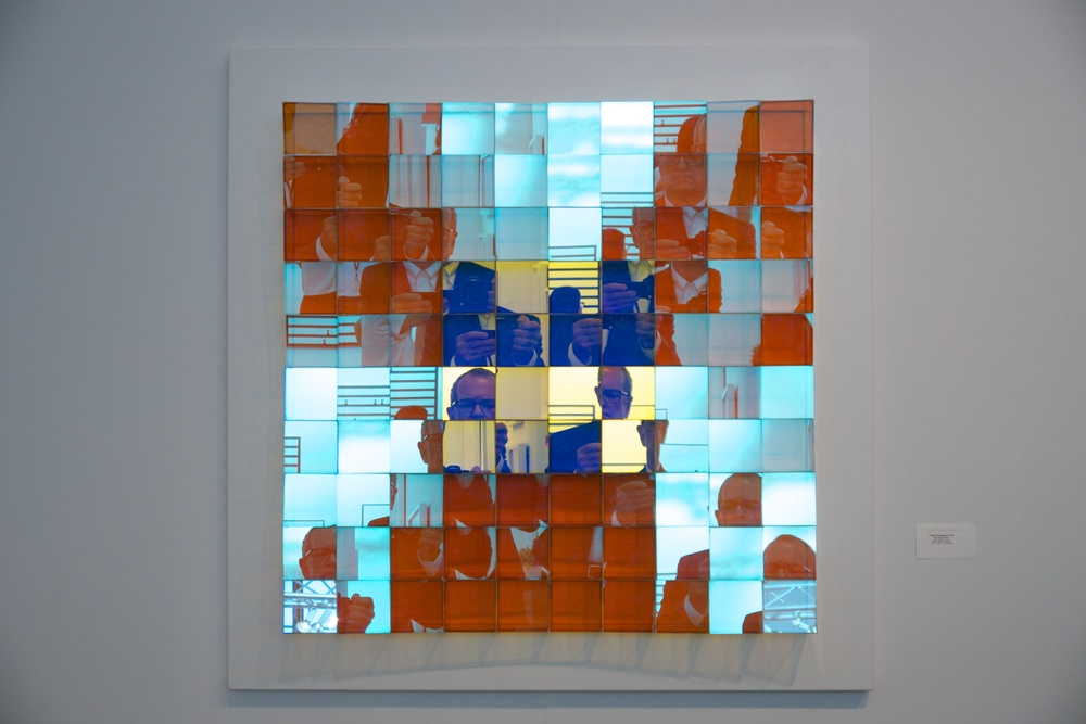 "Cathy Cunningham-Little, ""Four-Square,"" 2016, glass, acrylic, wood, 37.5 x 37.5 x 4 inches"